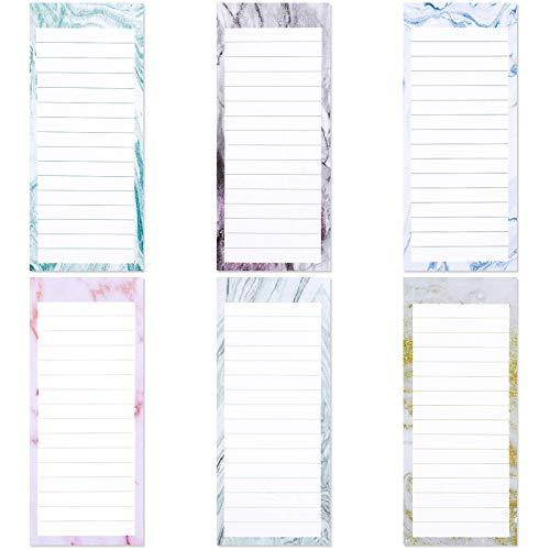 Containlol 180 Blatt 6 Stück Marmor Magnetische Notizblöcke Magnetische To-Do-Liste Notizblöcke Magnet Rückseite Memo Pad für Kühlschrank Einkaufsliste Erinnerungen, 19,1 x 8,1 cm (Fancy Marble Serie)
