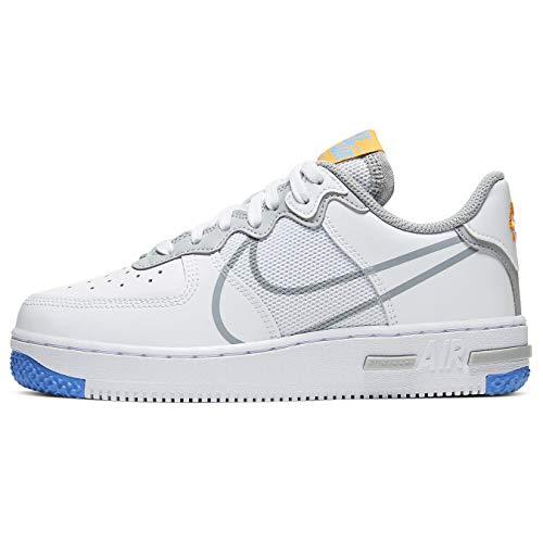Nike Air Force 1 React Su (gs) Moda Casual Scarpe Grande Bambini Ct5117-102, Bianco (Bianco/Lt Grigio Fumo/Rosso), 39 EU