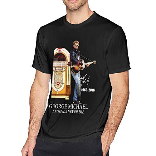 IUBBKI Camiseta básica de Manga Corta para Hombre George Michael at Black Eye Gallery in Sydney-Edit Men's Short Sleeve T-Shirt Cotton