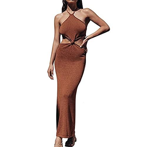 Vestido de verano para mujer, sexy, de Y2K, sin mangas, elegante, informal, sin mangas, sin mangas, sin mangas, vestido de tirantes, chaleco, cuello hueco, vestido de cóctel, vestido de noche caqui L