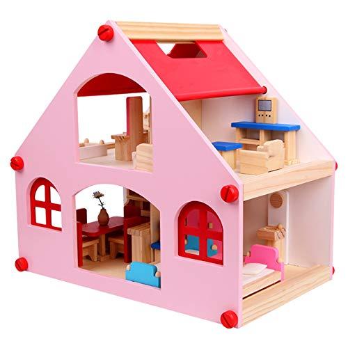 LiChaoWen Muñecas de Madera Modelo de casa DIY Muñecas Casa para niños niña cumpleaños Regalo Casas de muñecas (Color : Pink, Size : 39×26×36 cm)