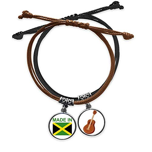 DIYthinker Made in Jamaica Country Love Pulsera Cuerda Mano Cadena Cuero Guitarra Pulsera