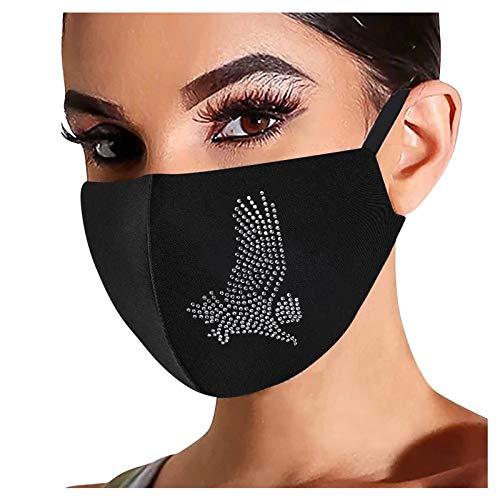 1Pc, Rhinestone Cloth Face_Mask Reusable for Women, Cute Animal Diamond Drill_Masks Washable for Nose and Mouth Protection, Anti-Dust for Adults, 1201 Style_194