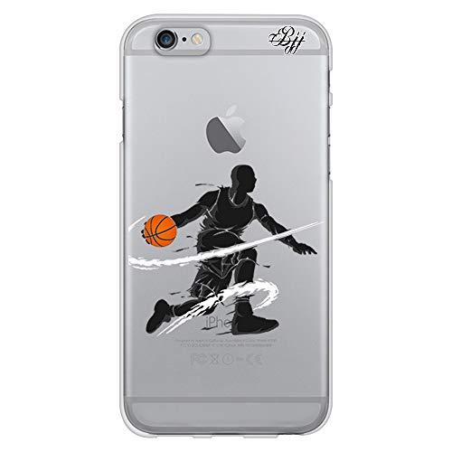 BJJ SHOP Funda Slim Transparente para [ iPhone 6 / iPhone 6s ], Carcasa de Silicona Flexible TPU, diseño : Jugador de Baloncesto regate