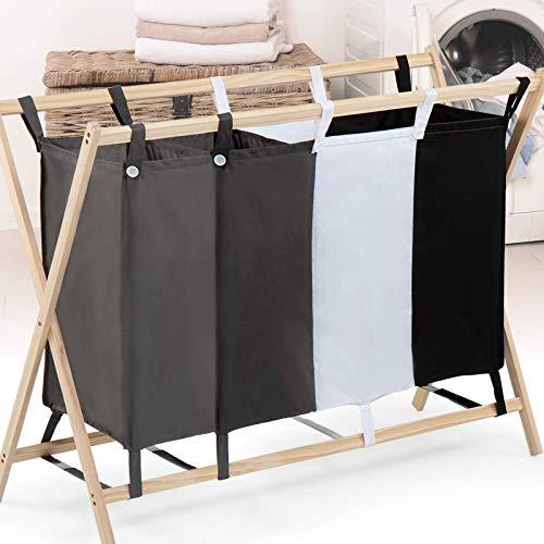 Wäschesortierer - 4 Fächer aus Stoff, dreifarbig, faltbar, Gestell aus Holz, stabil, 172 L Volumen, Größe (L/B/H): 98.5/40/72 cm - Wäschebehälter, Wäschebox, Wäschekorb, Wäschesammler für Kleidung