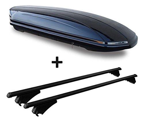 VDP Dachbox schwarz glänzend MAA 580 Auto Dachkoffer 580 Liter abschließbar + Alu-Relingträger Dachgepäckträger offene Reling im Set Range kompatibel mit Rover Sport ab 14