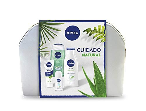 NIVEA Neceser Body Cuidado Natural con loción corporal (1 x 400 ml), gel de ducha (1 x 250 ml), desodorante roll on (1 x 50 ml) y crema de manos (1 x 100 ml)