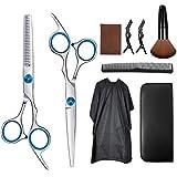 Juego de tijeras de peluquería para adelgazar el cabello, tijeras de peluquería con paño de limpieza, tarjeta de molienda, peine de afeitar de pelo, clips,