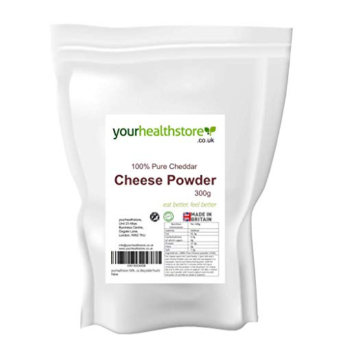 yourhealthstore 100% Pure Cheddar Cheese Powder 300g, Made in Britain with British Milk, No Additives, Vegetarian, Keto, (Recyclable Pouch)