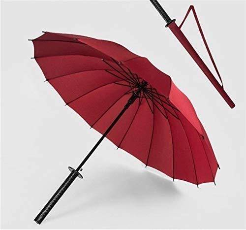 Frauen und Männer Reisen Regenschirm New Samurai-Schwert Griff Katana Regenschirm-Japaner Lange Regenschirm Wasserdicht Regenschirm Reise, bewegliche Schirme (Farbe : 16Red)