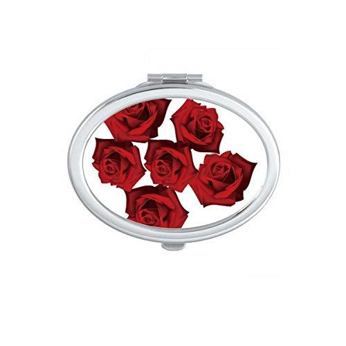 DIYthinker Plante Fleurs Rose Rouge Fleur Plante Ovale Miroir de Maquillage Compact Portable Mignon la Poche miroirs Cadeau