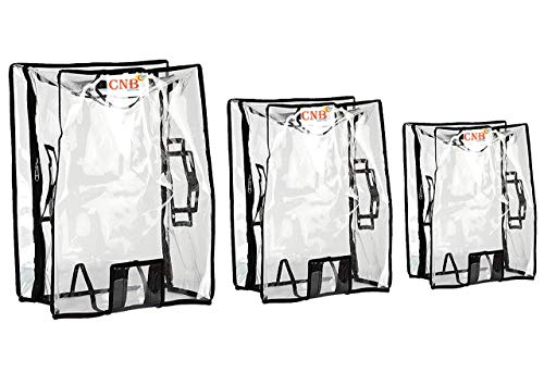 CNB Waterproof Dust Proof Suitcase Cover Trolley Bag Cover with Zip for Hard Luggage_Transparent_Size: 20,24,28 Inch_(Pack of 3)