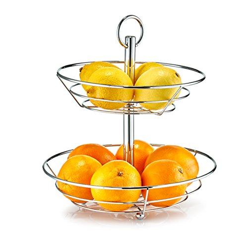 Zeller fruitschaal, metaal, zilver, 26 x 29 x 35 cm