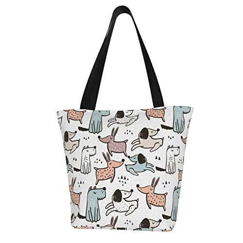 Stylish Cartoon Colorful Spotted Dog Canvas Tote Bag Lightweight Shopping Grocery Handbag Purse Shoulder Bag with Inner Pocket Hiking Travel