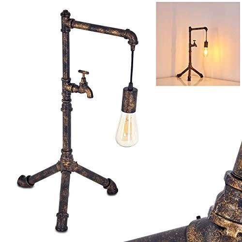 Tafellamp Kolyma, moderne metalen tafellamp in zwart/goud, 1 vlam, 1 x E27 stopcontact max. 60 Watt, lamp in retro/vintage uitvoering met aan/uit schakelaar op de kabel, LED geschikt
