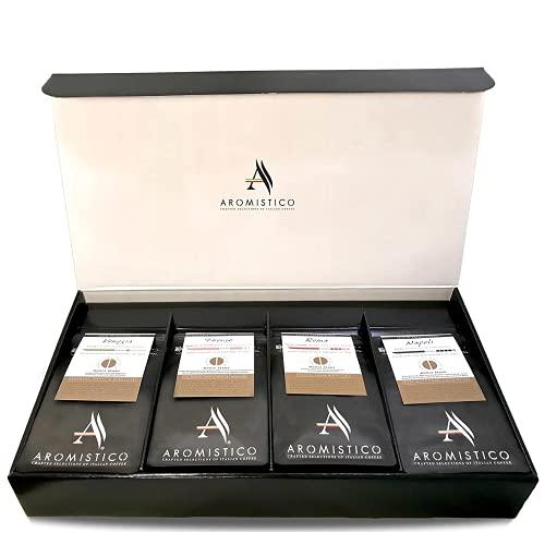 italian coffees Aromistico - Italian Variety Coffee Bean Bag, Set of 4 x 200g Premium Coffee Samplers (Roma, Venezia, Napoli, and Firenze)