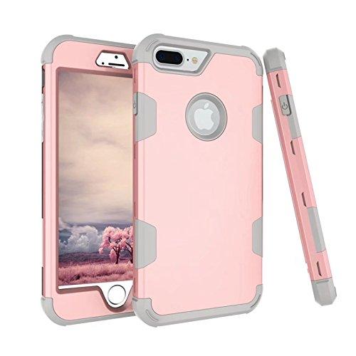 Yhuisen iPhone 7 Plus Caso, Assorbimento d'urto Tre difetti di Armatura di Livello [Heavy Duty] Custodia Protettiva Ibrida Robusta per iPhone 7 Plus (Color : Rose Gold+Gray)