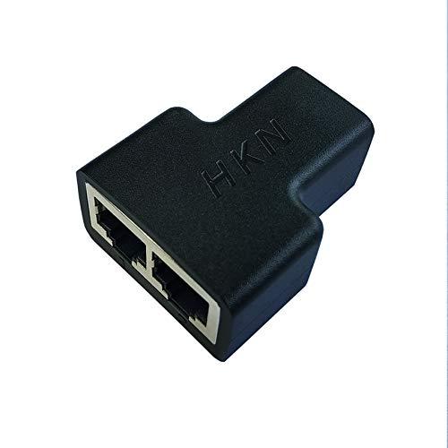 HKN Paquete de 2 adaptadores de cable Ethernet divisor de cable LAN, cable de...