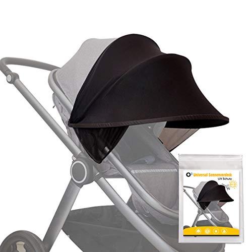 O³ Kinderwagen Sonnenschutz Universal // Sonnenverdeck für Baby Buggy, Sportwagen, Babyschale mit UV-Schutz 40+ // Pop up Sonnendach Sonnenblende