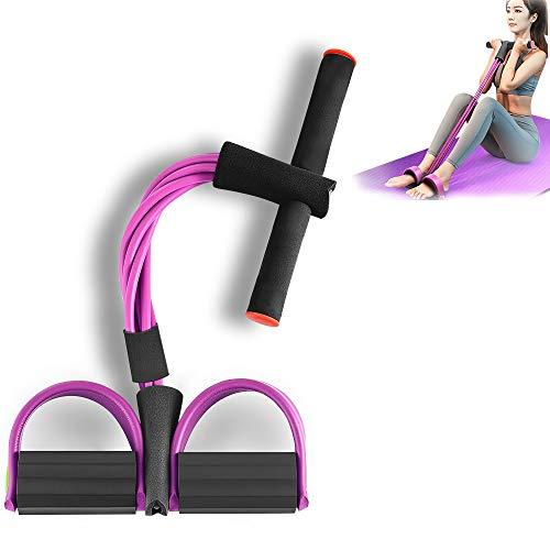 GANZTON Sit-Up Trainingsgeräte Sit-up Bodybuilding Expander Widerstandsband Puller Zugseil Pedal Sit-up Assistent Gym Equipment Beintrainer Bauchtrainer mit 4 Tuben für Yoga Fitness Pink