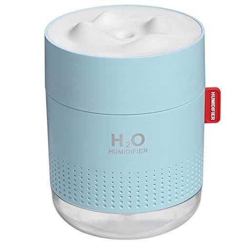 YunNasi Humidificador Ultrasónico con Luz Nocturna Niebla Fría 500ml hasta 12hrs Auto-Apagado Sin Agua Ultra Silencioso Humidificador de Aire para Dormitorio Sala de Estar Oficina (Azul)