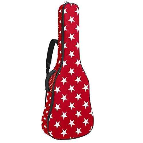 Bennigiry Bolsa de guitarra con diseño de estrellas blancas sobre fondo rojo para guitarrista