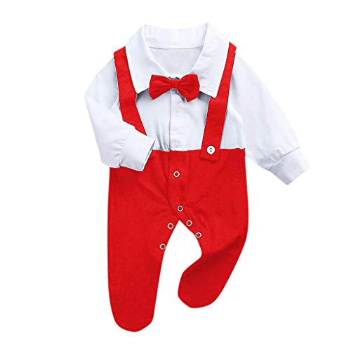 TWISFER Unisex Langarm Body Baby Bug Revers Patchwork falsche Riemen Strampler Overall Baby Revers Bogen nähen Gentleman Romper Jumpsuit Pyjamas