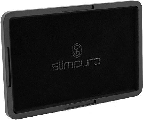 Slimpuro® Coin Case/Coin Card - Lautloses Münzfach, Kleingeldfach aus Aluminium für Slim Wallets, Kreditkartenetuis, Kartenetuis, Geldbeutel - Blockt RFID Signale (Mit Filzschutz, 3 mm dünn)
