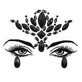 Flower Face Jewels for Make up Tattoo Sticker Halloween Women Mermaid Face Gems Glitter Rhinestone Face Jewels Eyes Temporary Tattoos for Halloween Music Festival (Black-S095)