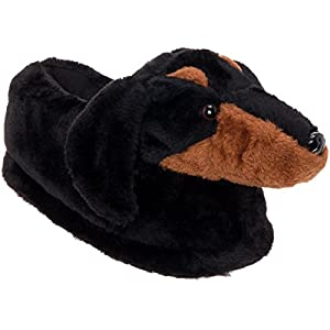 Silver Lilly Dachshund Slippers – Plush Dog Slippers w/Platform
