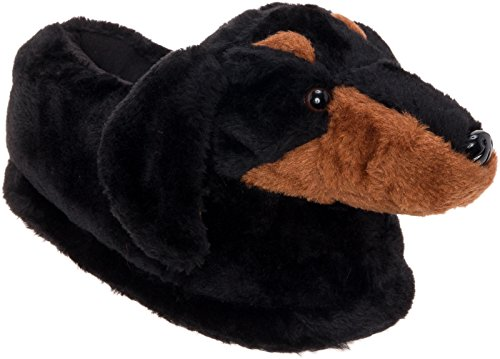 Silver Lilly Dachshund Slippers - Plush Dog Slippers w/Platform (Black/Tan, Medium)