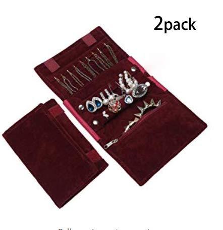 WODISON I monili portatili di lusso verniciano il sacchetto di organizzazione del sacchetto per il vino rosso di corsa (pacchetto di 2)