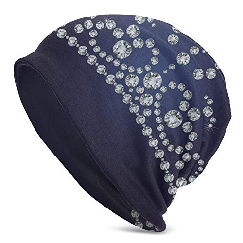 BGDFN Resumen Hermosos Diamantes de imitación Corona Sombrero de Punto Cálido Beanie Sombreros Elásticos Suaves con puños de Calavera Gorro Diario para Unisex Negro