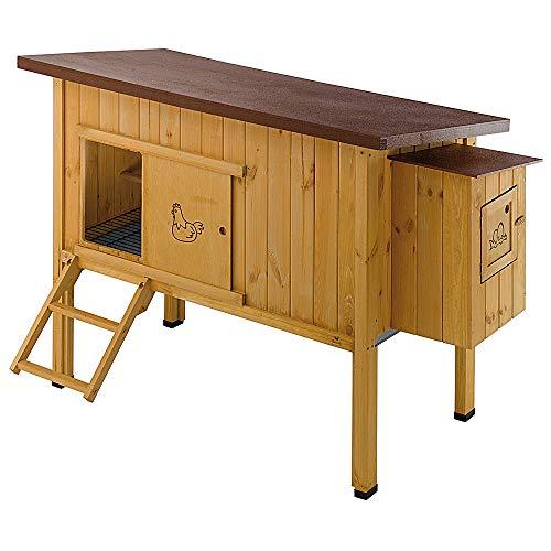 Ferplast Pollaio casetta per polli galline ovaiole HEN HOUSE 30 da esterno, in legno FSC, per circa 6 galline, Accessori inclusi