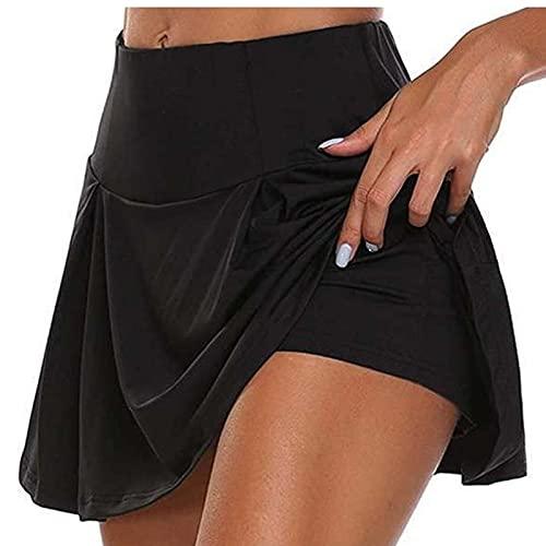 2 en 1 Falda de Tenis Mujeres Transpirable Yoga Faldas Femenas Falsas Falsas Dos Piezas Deportes Pantalones Cortos de Golf Casual Gimnasio Ejercicio Faldas Faldas 0430 (Color : Black, Size : M)