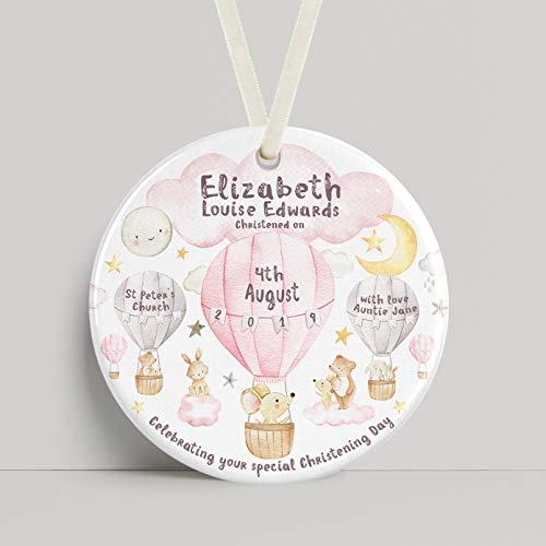 Dkisee Gepersonaliseerde Christening Gift Keramisch Ornament Hot Air Ballon Dieren Roze Voor Een Pasgeboren Baby Of Christening Present 3 inch