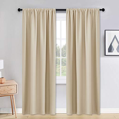 PONY DANCE Window Curtains 90 Long - 42 x 90 inches Biscotti Beige Window Treatments Set Home Decoration Curtains Light Blocking Solid Soft Rod Pocket Drapes for Bedroom Living Room, 2 Pieces