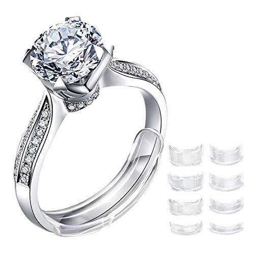 Lpoqw - 8 anelli di serraggio per anelli sciolti trasparenti e invisibili, per anelli larghi e riduttori di dimensioni