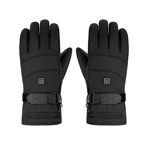 PINZHENG Guantes calefactores, guantes eléctricos recargables, guantes de calefacción impermeables, 3 niveles de calefacción, guantes de esquí y guantes de snowboard (color no reflectante)