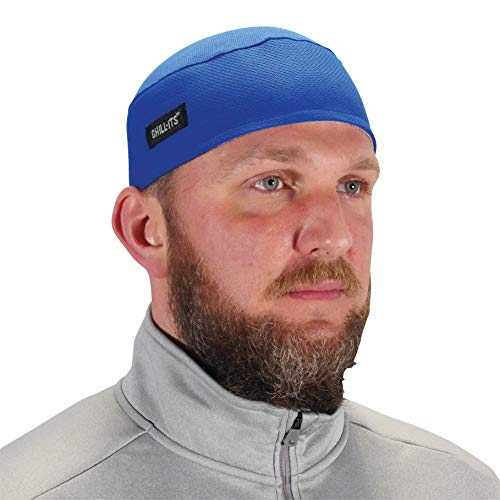 Ergodyne Chill Its 6630 Skull Cap, Lined with Terry Cloth Sweatband, Sweat Wicking, Blue