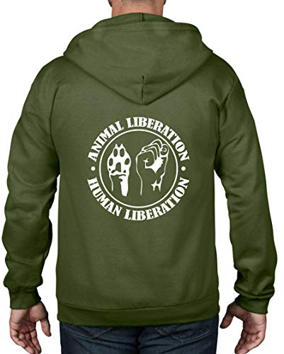 Animal Liberation Human Liberation Full Zip Hoodie Vegetarian Vegan T Shirt,City Green,XXXL