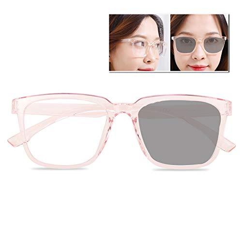 ACXZ Damen Sonnenbrillen Photochrome Progressive multifokale Sonnen Lesebrille, Mode übergroßer rosa klarer Rahmen (Stärke 1,0, 1,25, 2,0, 2,5, 3,0)