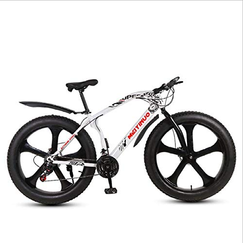 DGAGD 26 inch Snow Beach Bike disc Brake Super Wide 4.0 Tires Off-Road Variable Speed Mountain Bike Five-Cutter Wheel-White_21 Speed