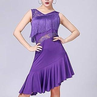 QGTDRESS Latin Dance Dress Women Tassel Tango Dress Dance Skirt Dancewear, Size:L(Red) (Color : Purple)