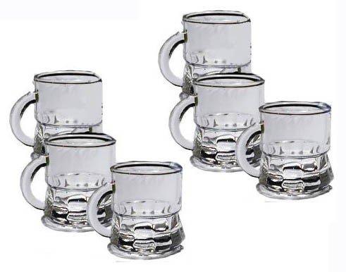 takestop® Set 6 Bicchierini da LIQUORE con Manico Mini Boccale CICCHETTI CICCHETTO Shot Rum Vodka in Vetro Bicchiere CHUPITOS