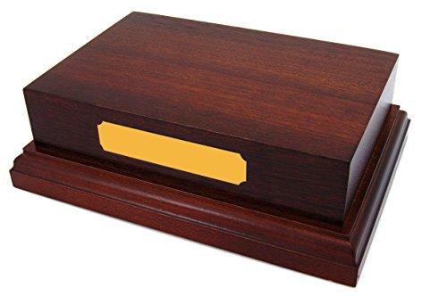 BabyRice Base de Madera de Caoba Maciza de 15 x 10 cm para Adorno, Objeto, Trofeo, Premio, Casts, PLINTH6x4.MHG.GLDPLQ.Eng, marrón, Gold Plaque Engraved