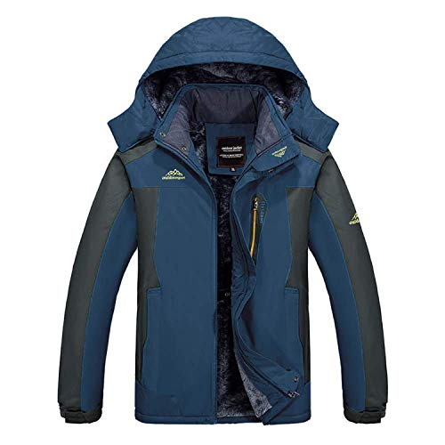 MagCOMSEN Heren warm gevoerde jas winter fleece jas winddicht hooded outdoor jas verdikt functionele jas met afneembare capuchon voor skiën vissen camping