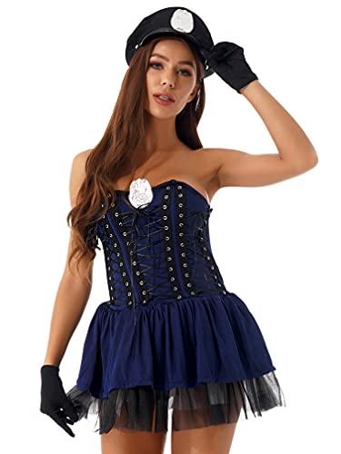 MSemis Disfraz de Policía para Mujer Mini Vestido Manga Corta con Cremallera Body de Uniforme Policía Sexy Vestido de Fiesta Holloween Carnaval Azul Oscuro L