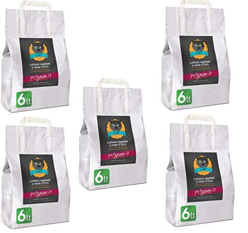 Petgnam 30L 5 Sacchi Sabbia Vegetale Agglomerante Assorbente Lettiera per Gatti Smaltibile nel WC Neutralizza Gli odori Non Si Attacca alle Zampe del Gatto