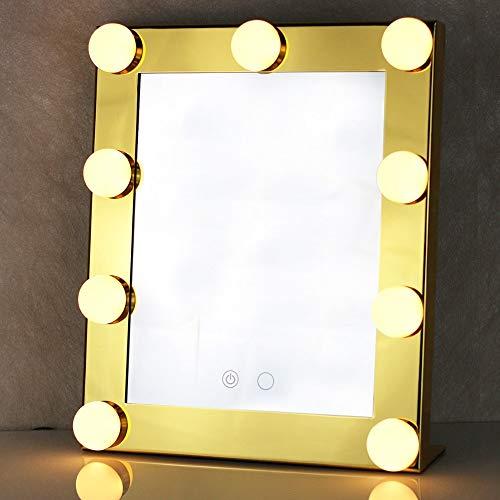 Kaptafels Verlichte make-upspiegel met 9 led-lampjes Touchscreen Schoonheidsspiegel Verstelbaar cosmetisch hulpmiddel